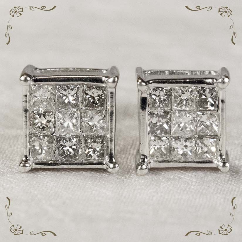 Vintage 1.04ctw 14k Gold Princess Cut Pierced Screw Back Diamond Earrings from Tanya's Treasures at RubyLane.com