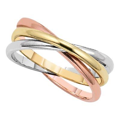 Rolling Interlocked Tri Color Gold Ring From Lieberfarb Fun For Idle Fingers