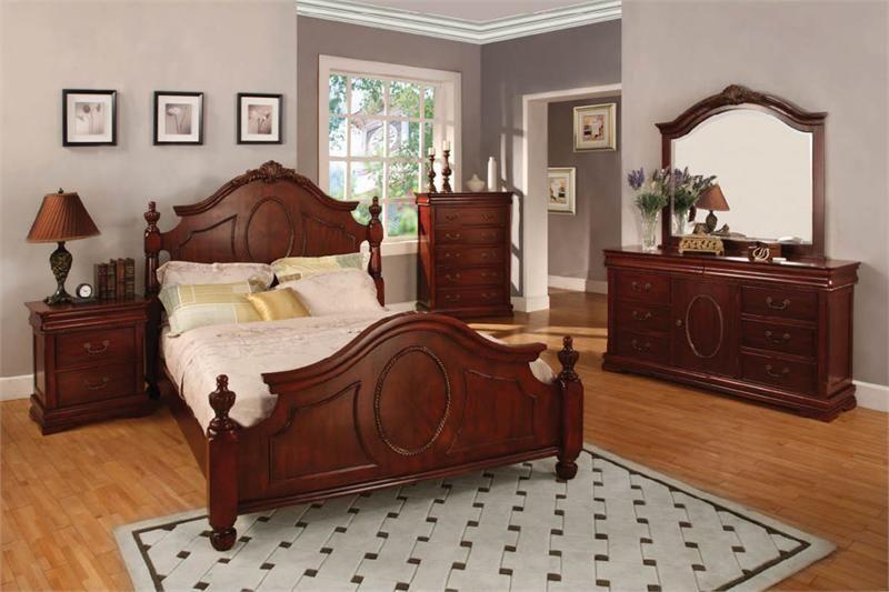 velda traditional cherry queen bed  king bedroom sets