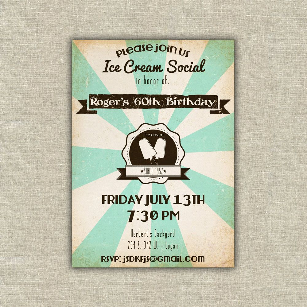 80th Wedding Anniversary Gift: 25 Retro Ice Cream Social Invitations, Birthday, Adult