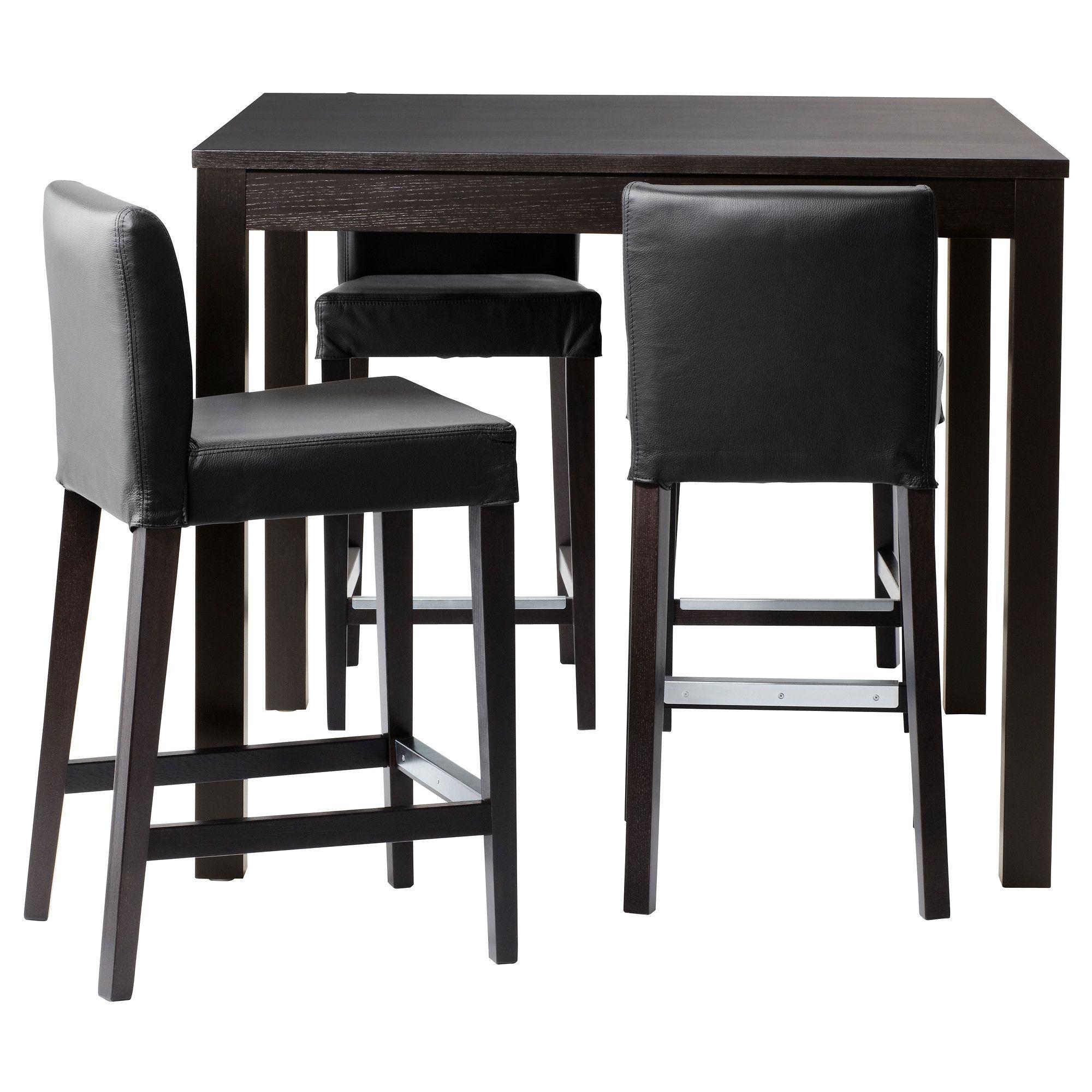 Bjursta Henriksdal Bar Table And 4 Stools Brown Black Robust