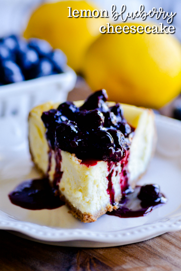 Lemon Cheesecake with Blueberry Sauce - Something Swanky #lemonblueberrycheesecake