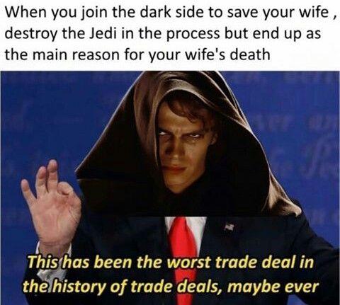 Trump Anakin Star Wars Star Wars Memes Star Wars Humor Funny Star Wars Memes