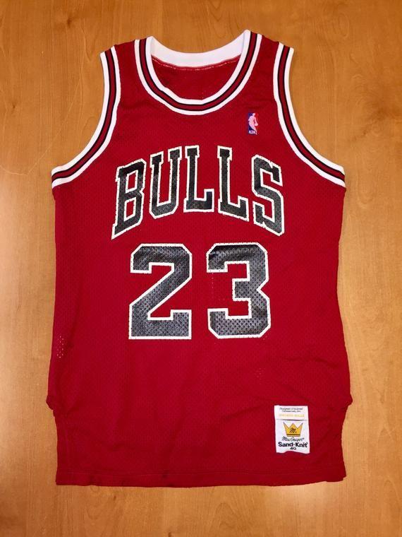 94f2fb0f Vintage 1980s Michael Jordan Chicago Bulls Authentic Sand Knit Jersey Size  40 nba finals shirt scott