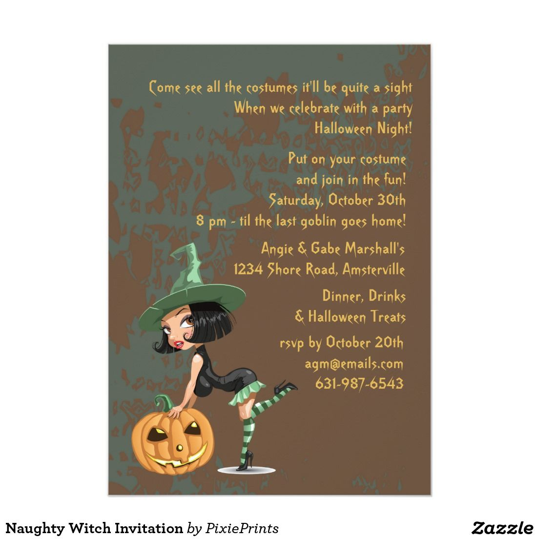 Naughty witch invitation trick or treat halloween party pinterest naughty witch invitation monicamarmolfo Image collections