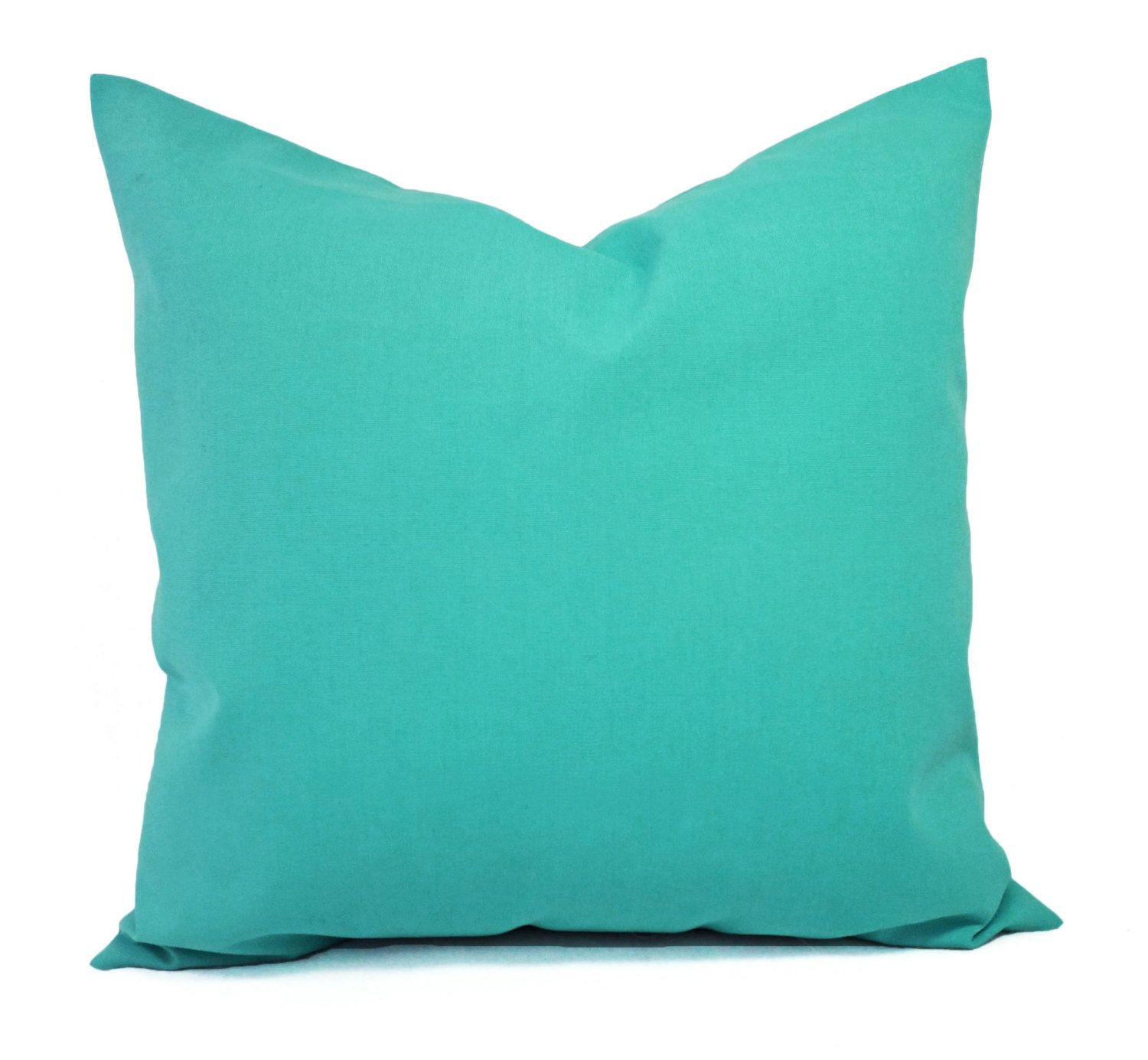 Two Indoor Outdoor Pillow Covers   Solid Green Pillow Covers   Aqua Pillow    Teal Pillow