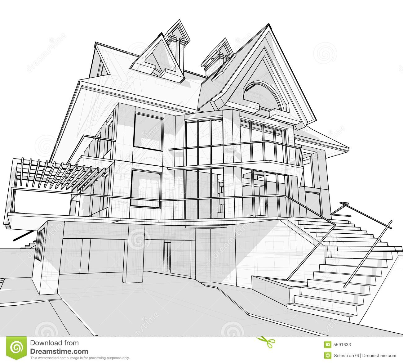 Modern house vector technical drawing from dreamstime httpswww house malvernweather Images