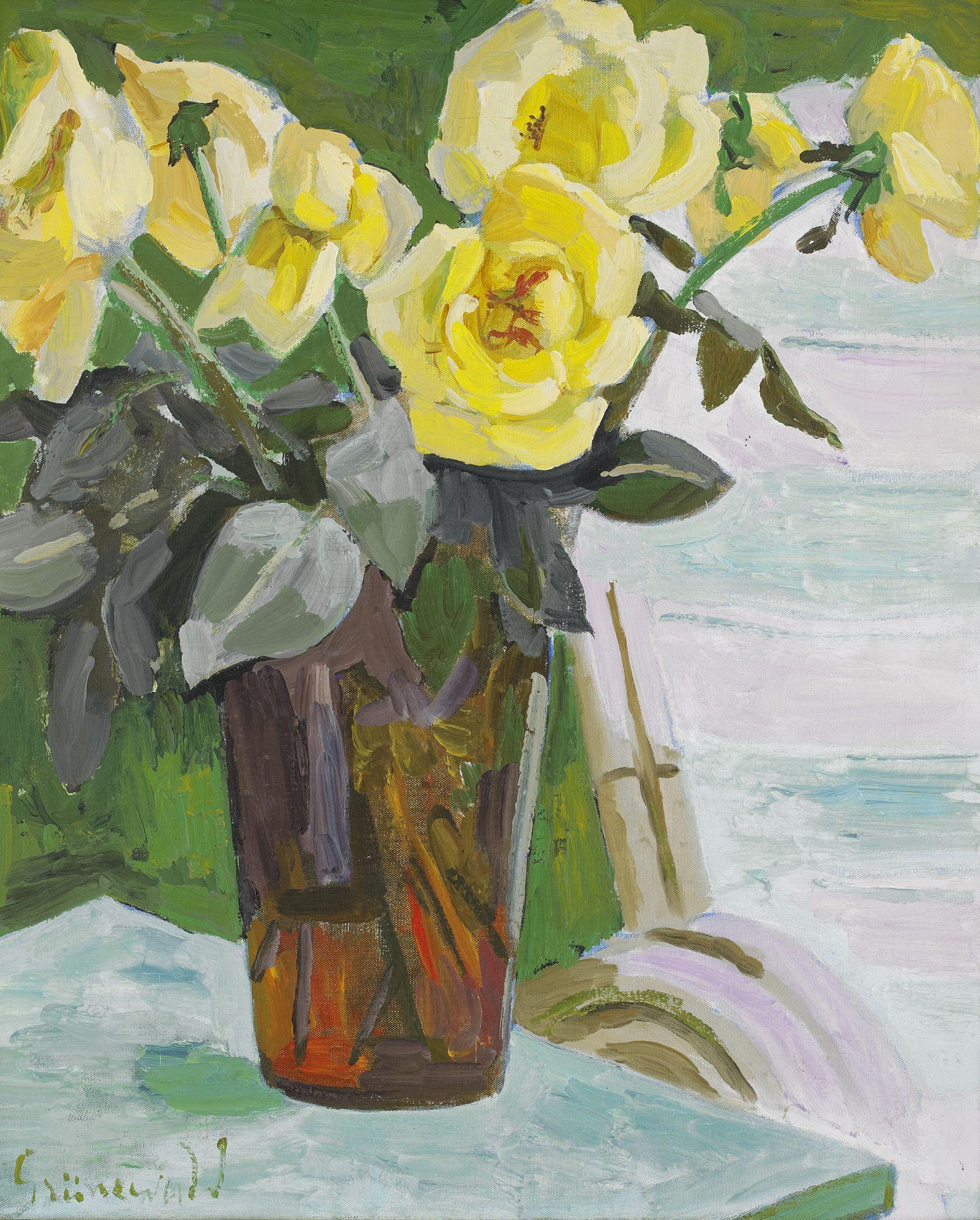 Stilleben med gula rosor Signerad Grünewald. Olja på duk, 73 x 60 cm. Utförd 1939
