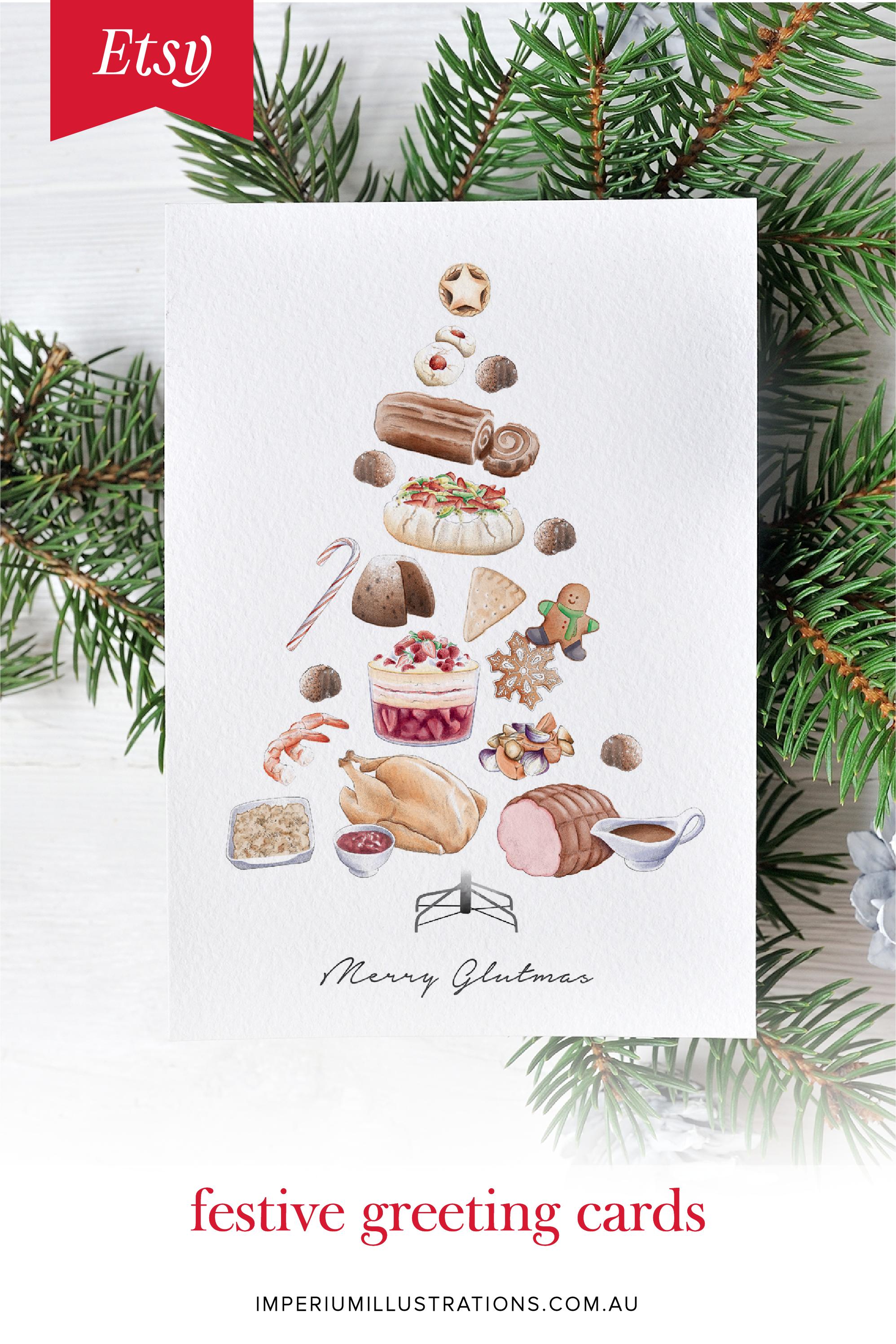 Funny Christmas Card Christmas Tree Card Modern Christmas Card Christmas Food Card Christmas Dinner Christmas Tree Cards Festive Cards Funny Christmas Cards