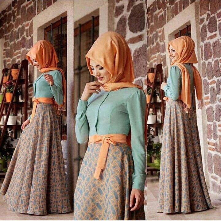 Gamze Polat Dress Green And Oranj Price85 Dolars You Can Order And Informations Whatsapp05533302701 Modaufkuhijab Kiyafet Maksi Elbiseler Elbise
