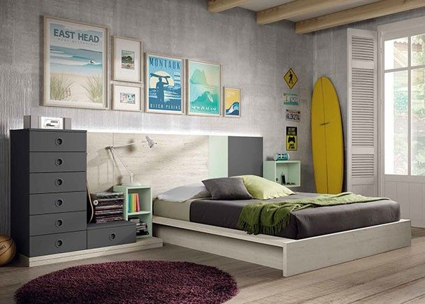 Habitaci n juvenil con cama tatami para colch n de 190 x - Habitaciones juveniles con estilo ...