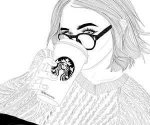 Starbucks Tumblr Outline Girls Dessin Noir Et Blanc