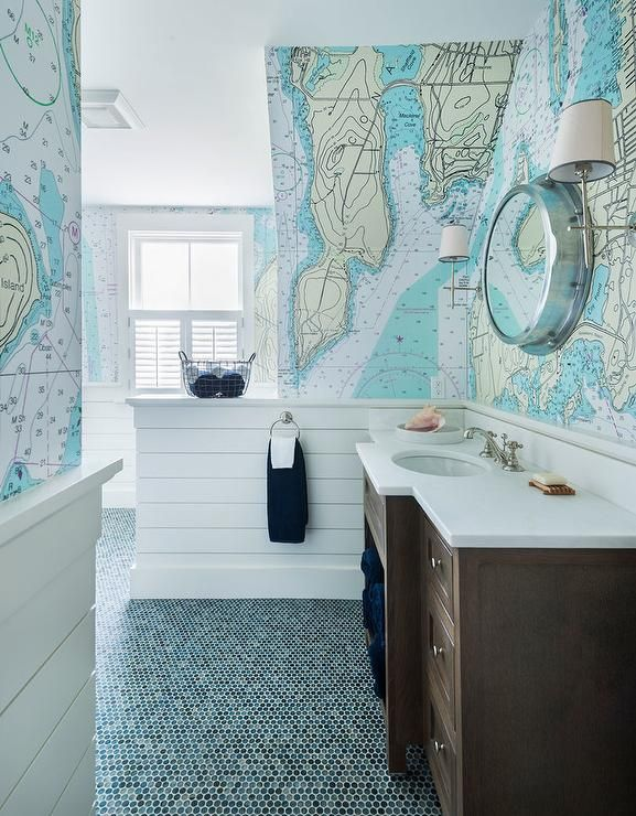 Brown And Blue Boys Cottage Bathroom Features A Washstand Fitted With White Quartz Countertop