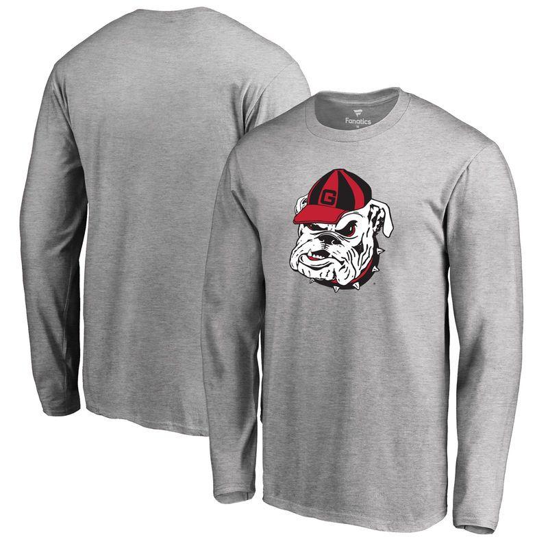 Georgia Bulldogs Big & Tall Primary Logo Long Sleeve T-Shirt - Heather Gray
