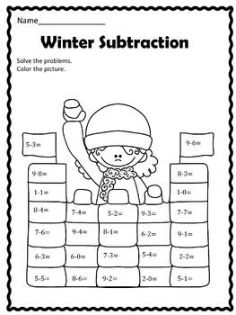Free Winter Subtraction With Images Math Subtraction