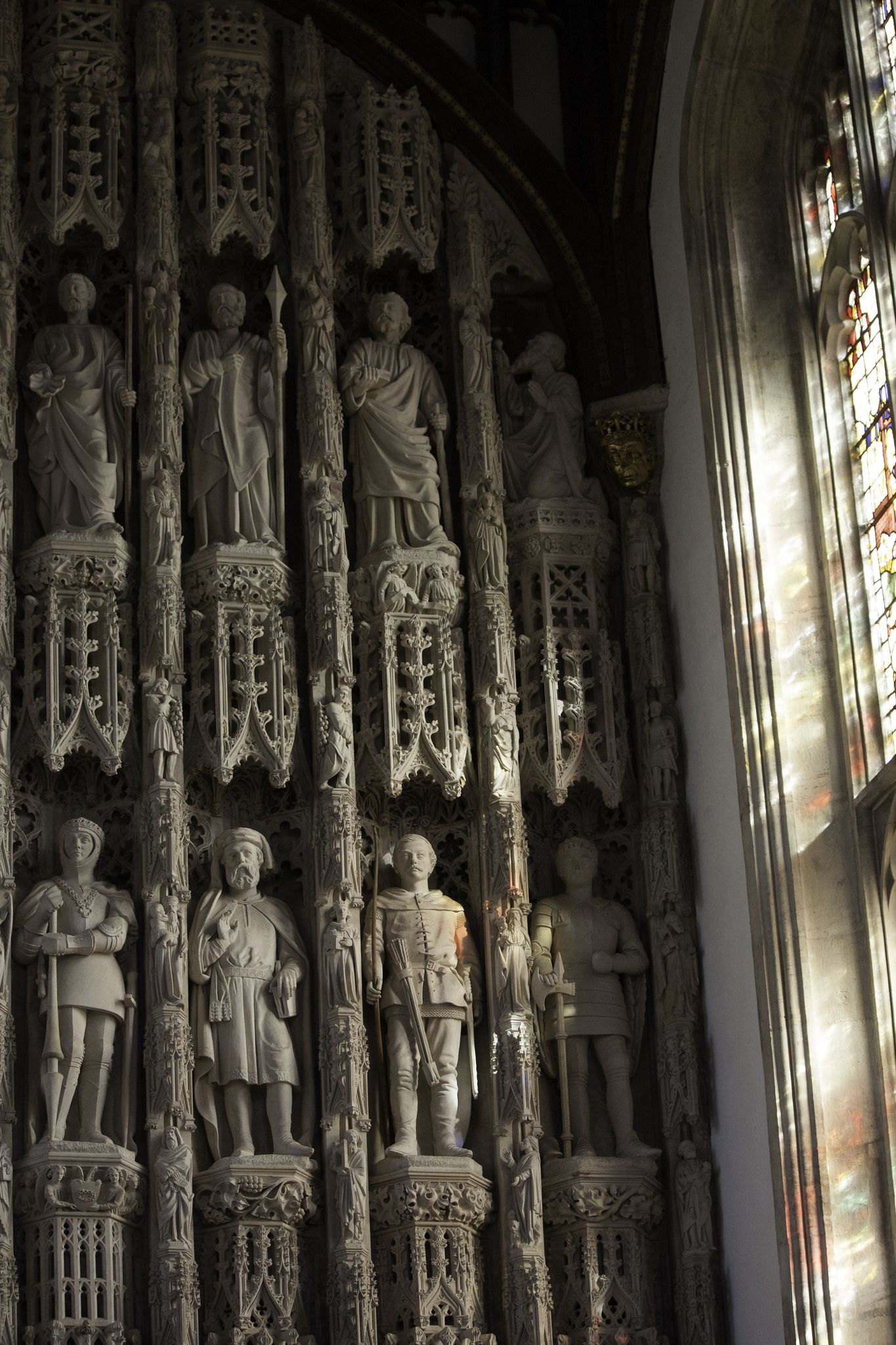 https://flic.kr/p/GacpxX | Light on the Reredos | The reredos of the Chapel of All Souls College, Oxford dates from c. 1447. Its niches contain 19th-century statues of saints, bishops, and monarchs.