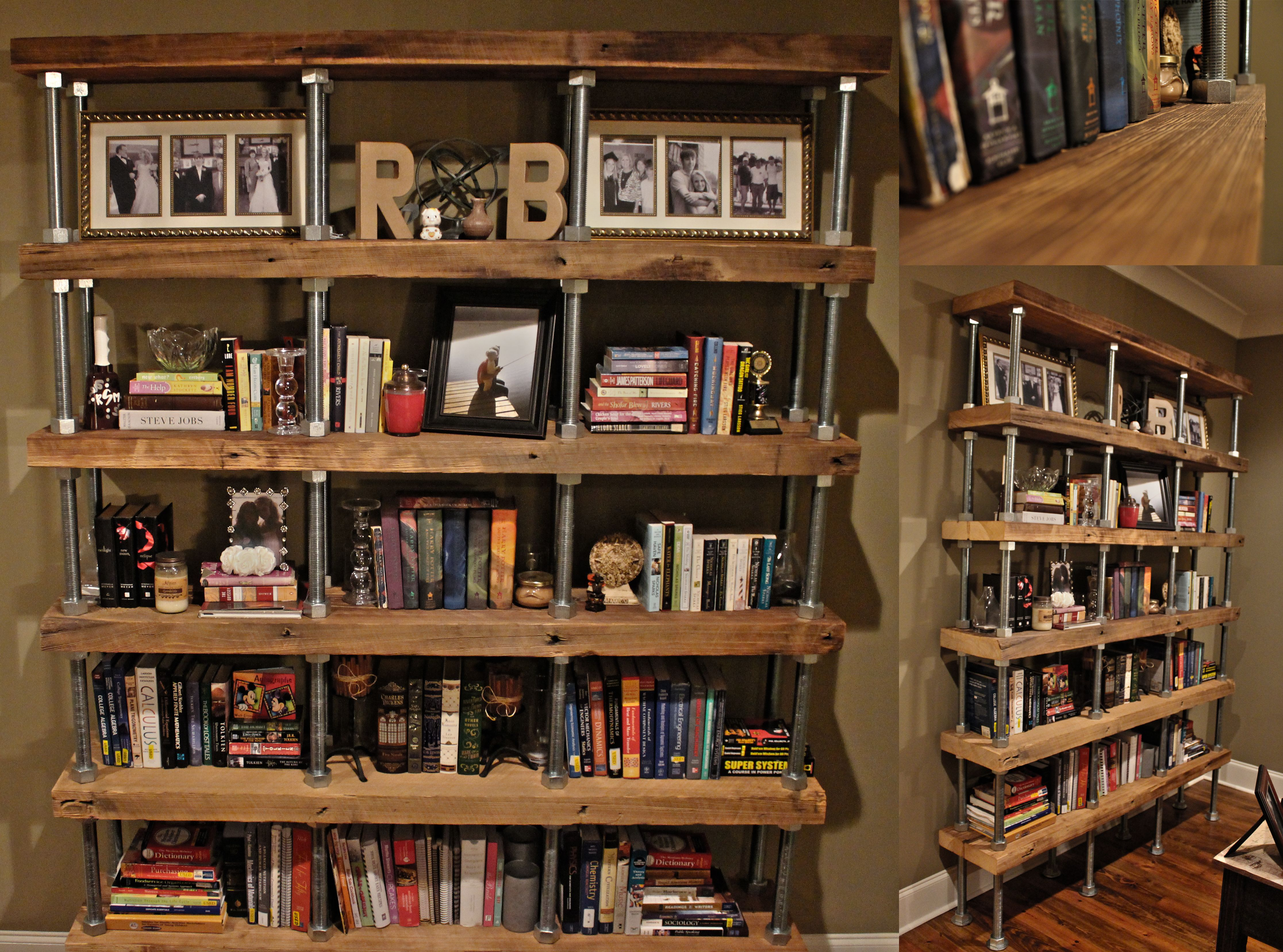 Diy Industrial Rustic Bookshelf Reclaimed Lumber Threaded Steel Rod Diy Bookshelf Design Bookcase Diy Bookshelves Diy