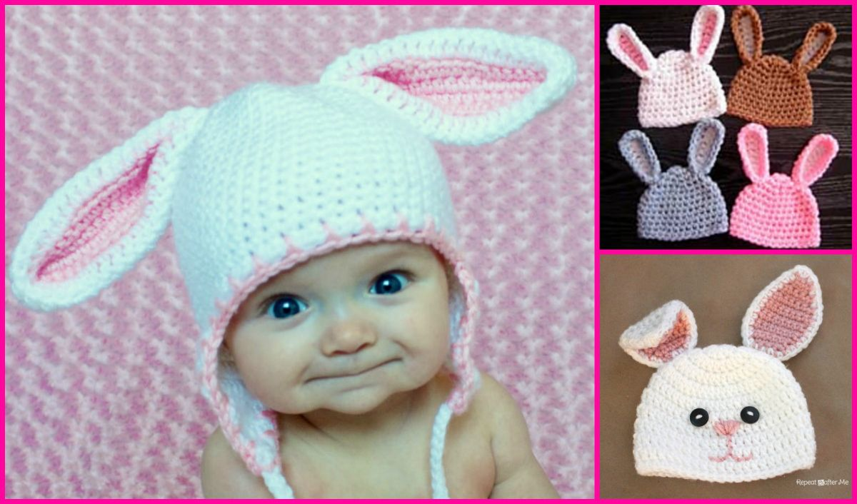 How To Crochet A Baby Beanie With Bunny Ears Baby Bunny Hat Crochet Baby Beanie Crochet Bunny