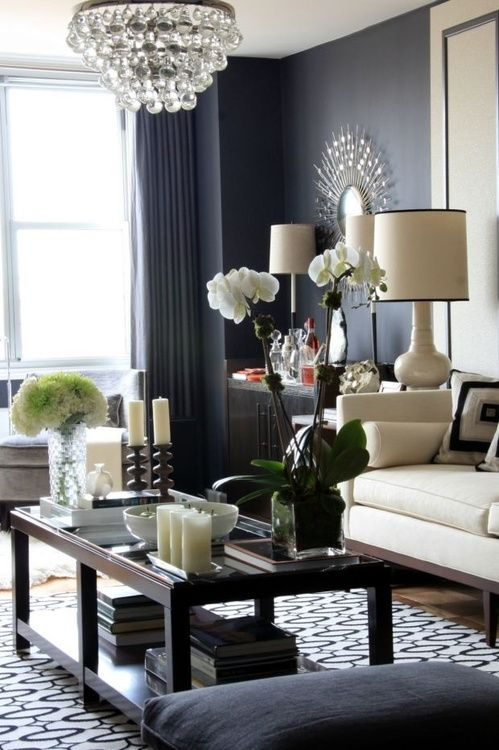 Gray Living Room Pretty Love The Dark Grey Walls Rooms Wall Blue Accent