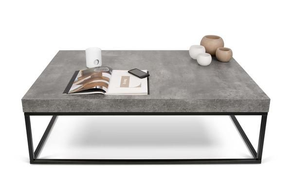 Coffee Tables Temahome Petra 47x30 Table Faux Concrete Top Black Legs 9500 625138 5603449625138 359 80