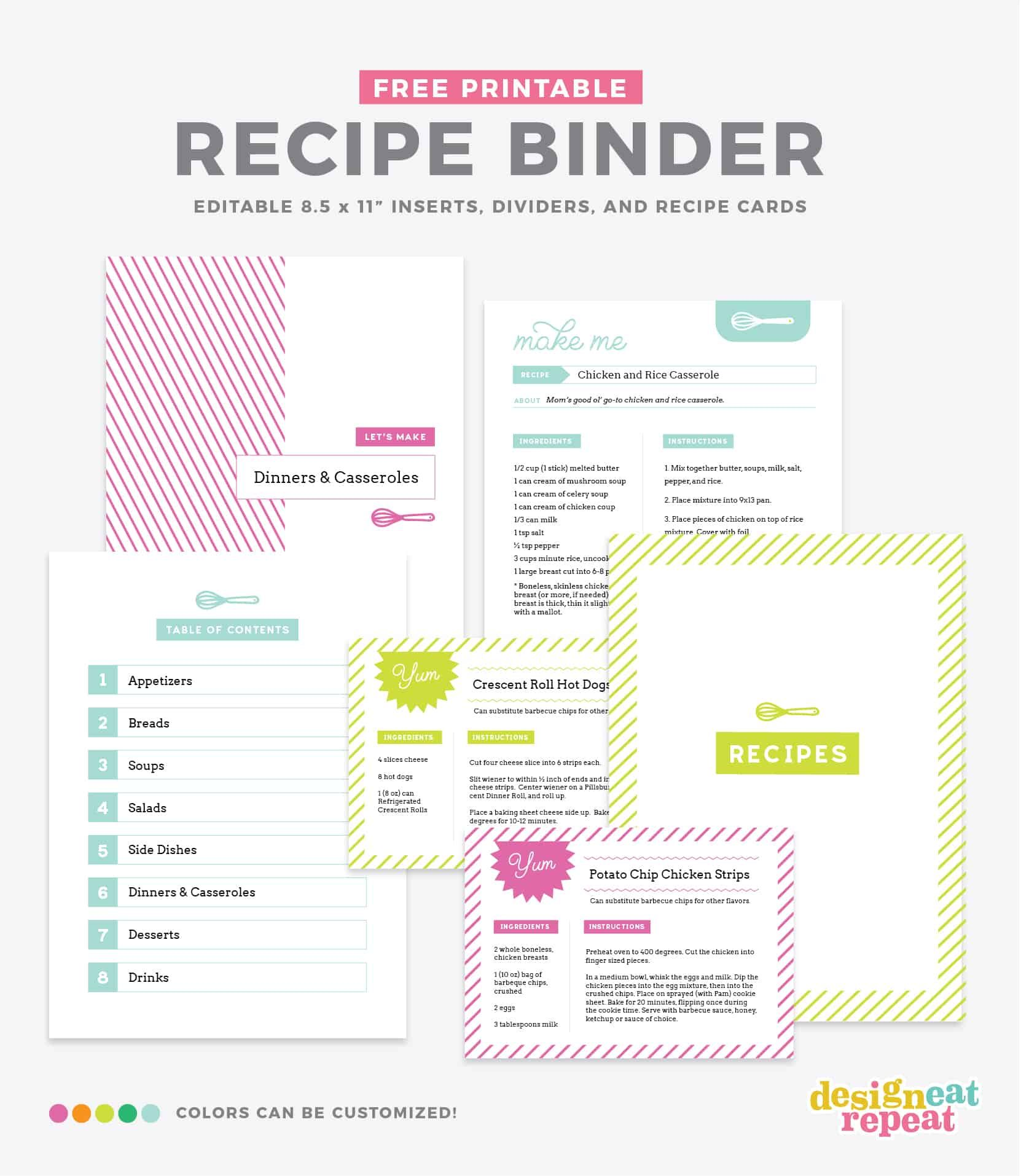 Printable Recipe Pages Nice And Simple Different Colors