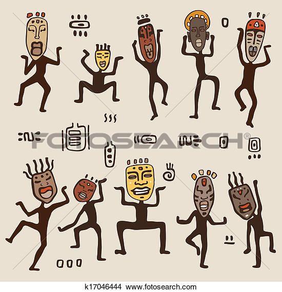 Tanzende Figuren Tragen Afrikanisch Masks Clipart K17046444 Tanzende Figuren Afrikanischer Tanz Afrikanische Kunst