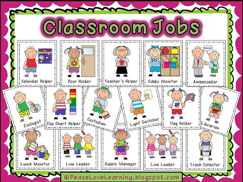 Classroom Job Printables From Peace Love And Learning Preschool