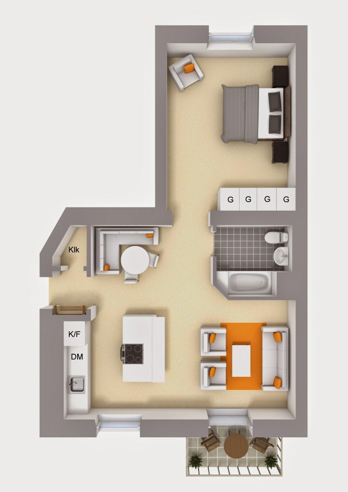 Amenajare în Plan Deschis într Un Apartament De 59 M Small House Plans Tiny House Layout Sims House