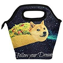 Taco Doge Galaxy Insulated Zipper Lunch Bag Cooler Tote Bag