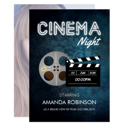 Hollywood Cinema Movie Theme Party Add Photo Card Invitations