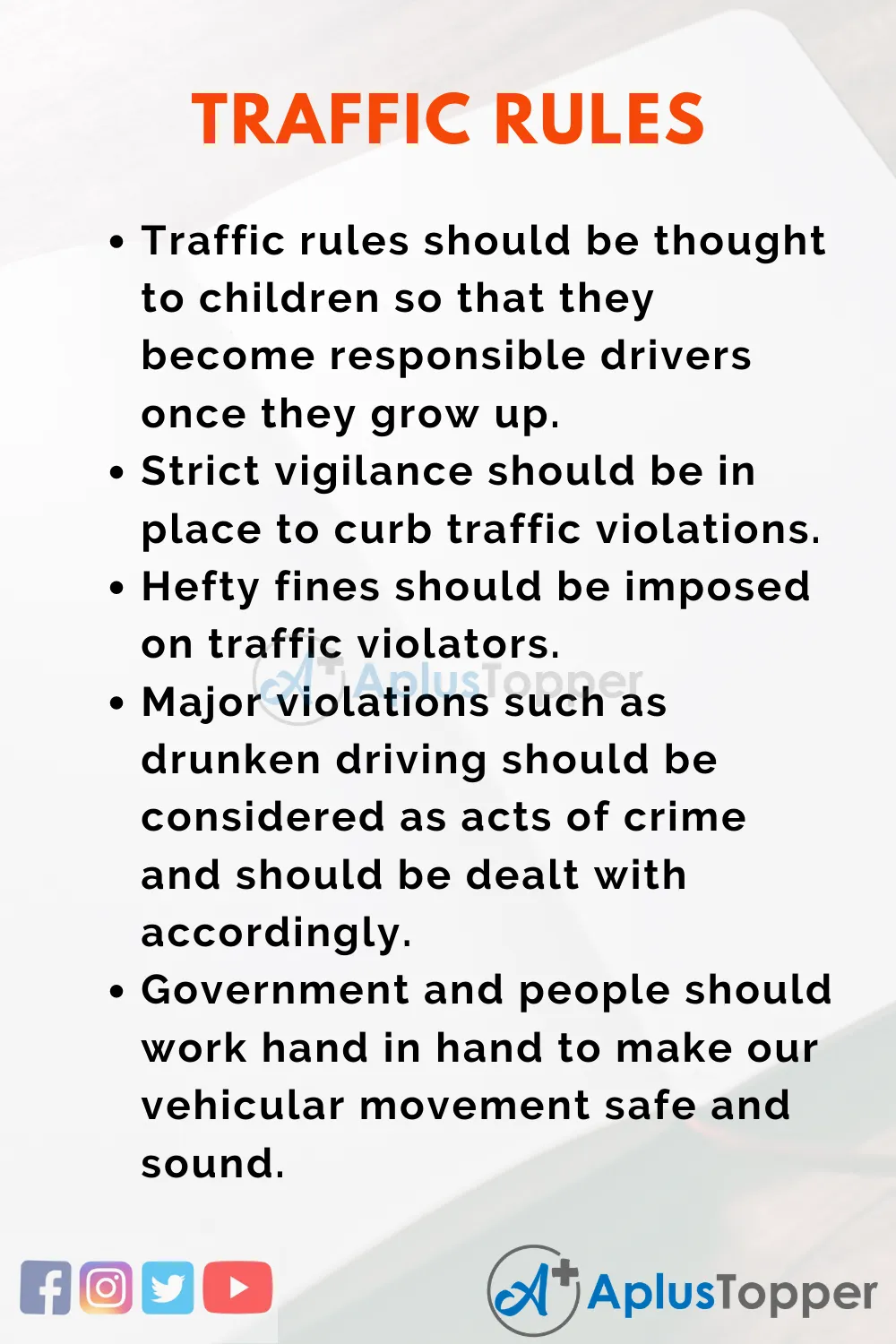 Essay On Traffic Rule For Student And Children In English A Plu Topper Writing Competition Youth Crime