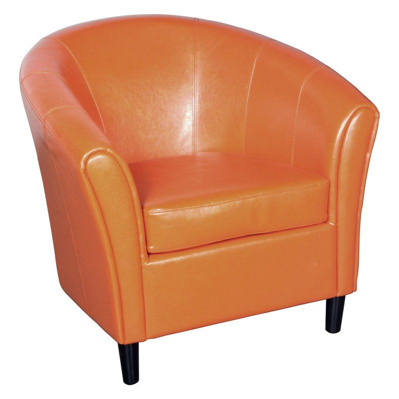 Napoli Orange Leather Club Chair Chic Office Chair Club Chairs