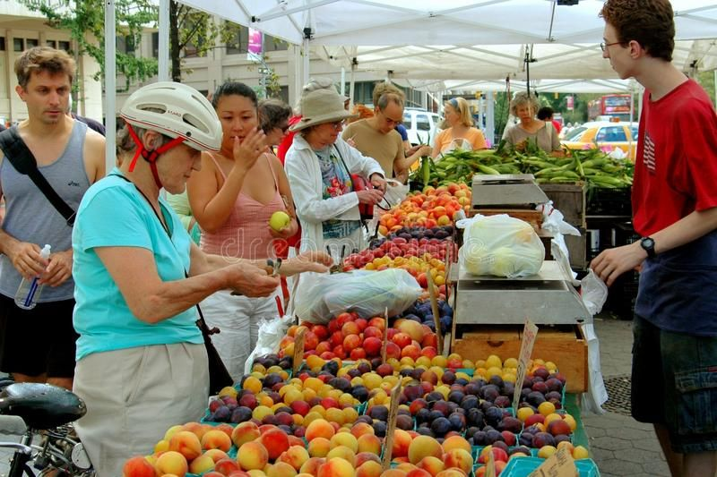 NYC Lincoln Square Farmers Market People shopping for farmfresh produce incl