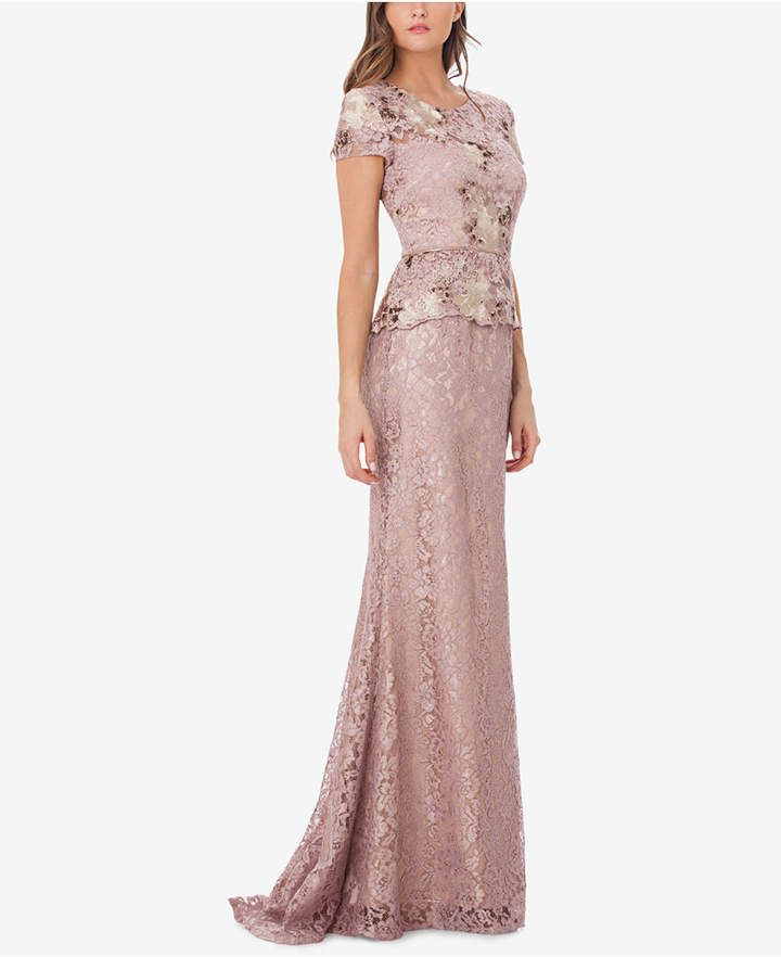 JS Collections Lace Peplum Gown | Peplum gown, Lace peplum and Gowns