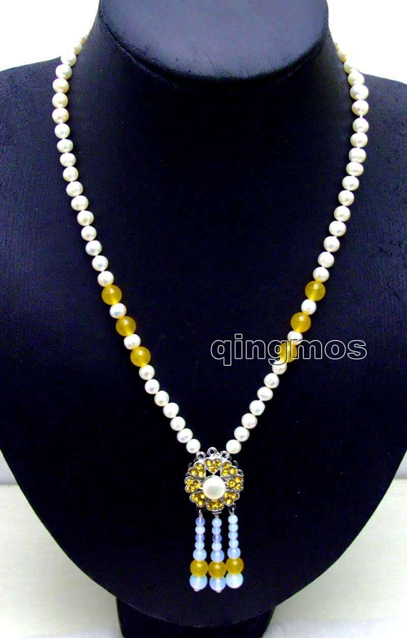 SALE mm White Round Natural Freshwater Pearl with mm Yellow