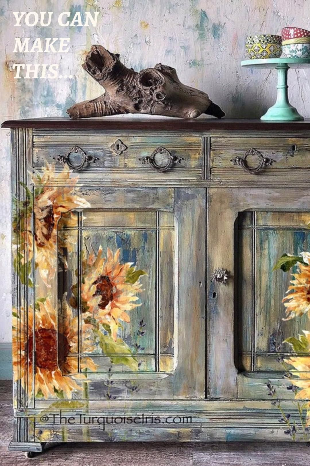 See the latest in easy DIY home decor with the 2020 release of Iron Orchid Designs' Decor Transfers. These gorgeous floral decals featuring sunflowers, roses and lavender blossoms can be use in any painted furniture makeover. Beautiful rub on transfers that look hand painted!