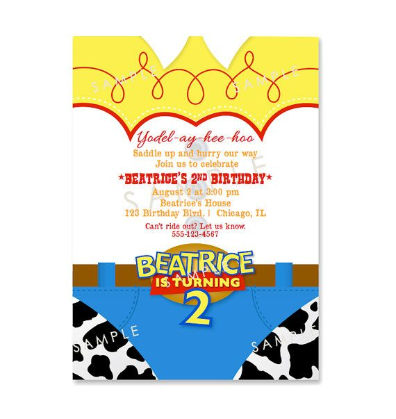 Toy Story Themed Invitations  Jesse 24 by Announciation on Etsy