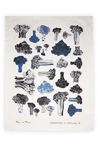 Nell And Mary Broccoli Organic Made In Usa Tea Towel Indigo