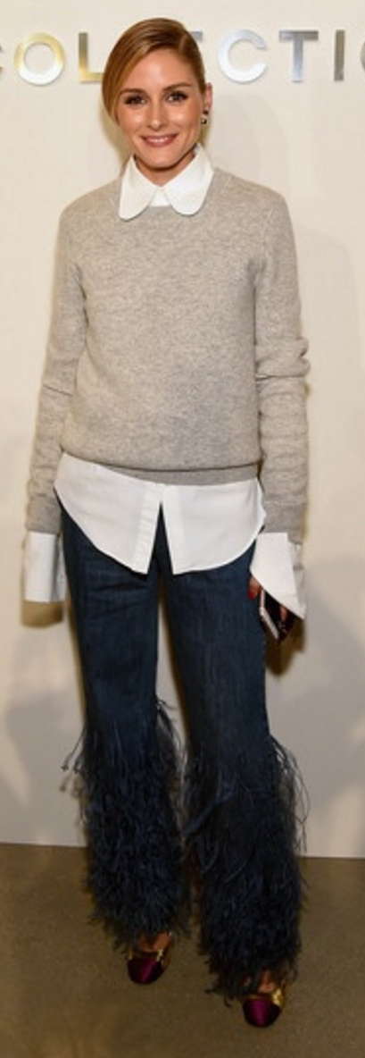 Who made Olivia Palermo's tan sweater, white collar top, blue ...