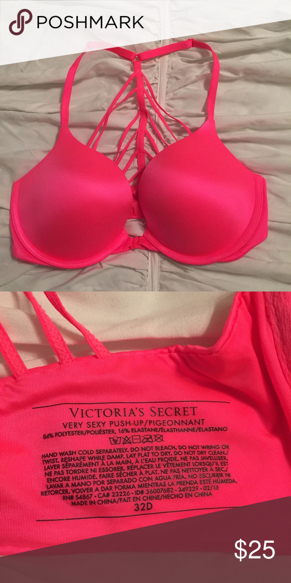 6a6c88eae Victoria s Secret Very Sexy Bra VS Very Sexy Push-up Bra. NEVER WORN. Front  Clasp. Color  Hot Pink Size  32D Victoria s Secret Intimates   Sleepwear  Bras