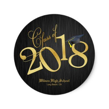 Funky black gold class of 2018 graduation classic round sticker graduation stickers diy cyo