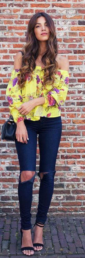 4665e1278aee yellow floral off shoulder top. ripped jeans. …