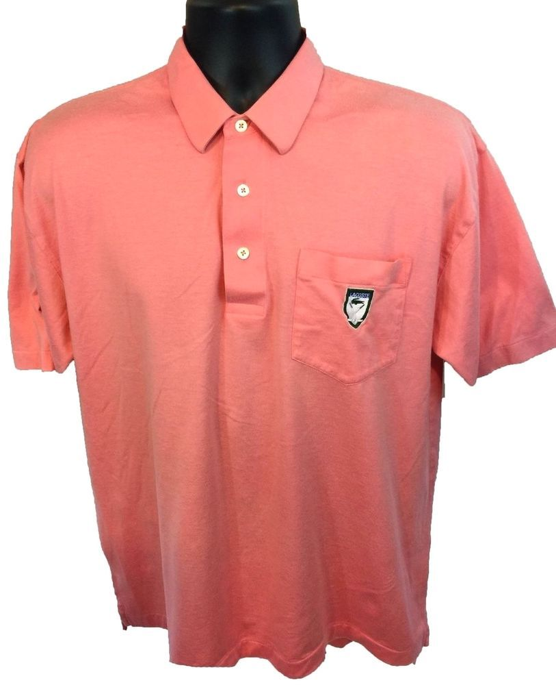 IZOD LACOSTE GOLF Men's Polo Shirt Size Large Pink L 100% Cotton Pocket Logo #Lacoste #PoloRugby