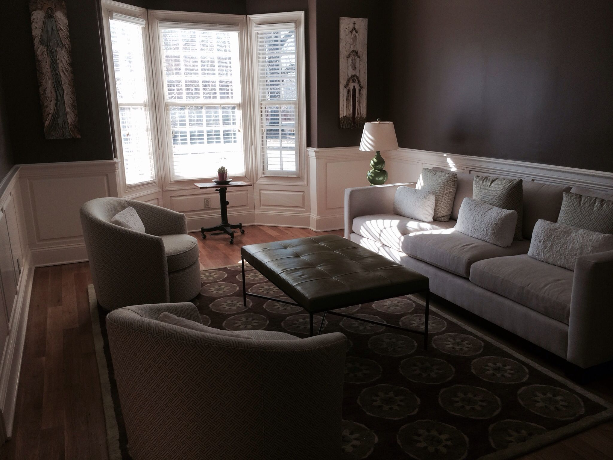 Blossomwood white, lime green, and chocolate brown living room with Bernhardt upholstery and faux fur pillows by Richard Cable