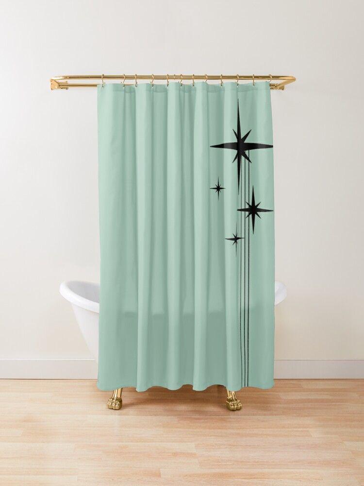 1950s Atomic Age Retro Starburst In Mint Green And Black Shower Curtain By Kierkegaard In 2020 Black Shower Curtains Home Decor Starburst