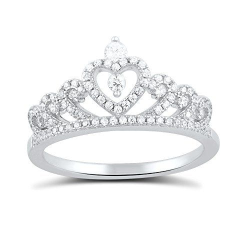 14k Rose Gold CZ-Studded Crown Sweet 15 Anos Quinceanera Ring