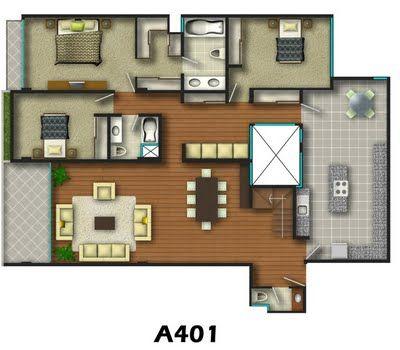 c mo es el plano de una casa de 3 habitaciones planos