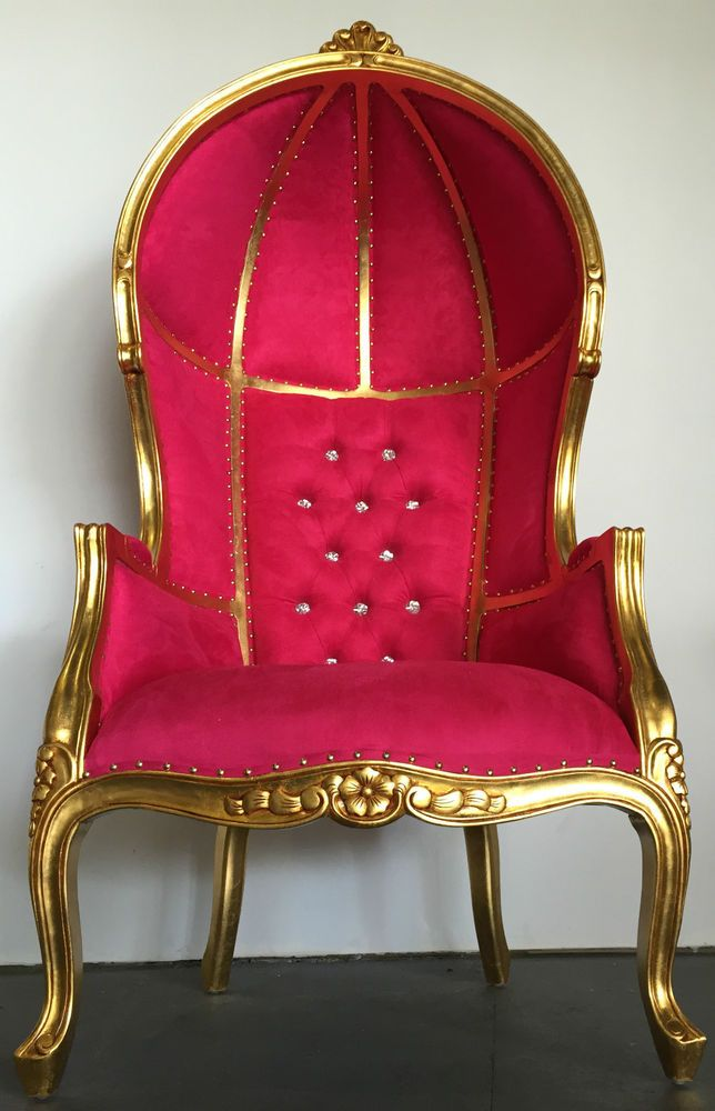 Stupendous Hollywood Regency Gold Hot Pink Dome Bonnet Porters Chair Cjindustries Chair Design For Home Cjindustriesco