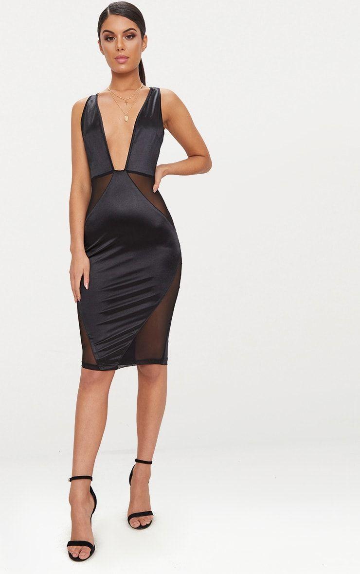 b9b34b8fba Black Satin Plunge Mesh Panel Midi Dress This midi dress is sure to sculpt  your shape