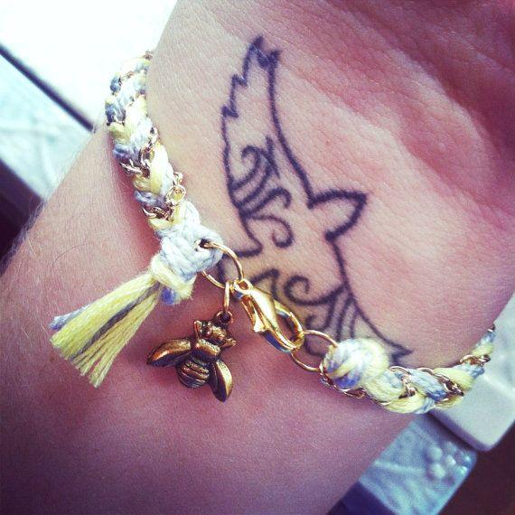 Chevron Braided Modern Friendship Bracelet - Fluorescent Yellow & Ice Grey $16